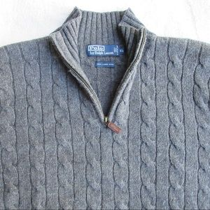 POLO 100% Lambswool Mens XL 1/4 Zip Sweater